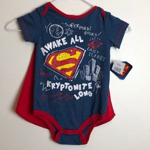 Adorable superman toddler onesie with Cape